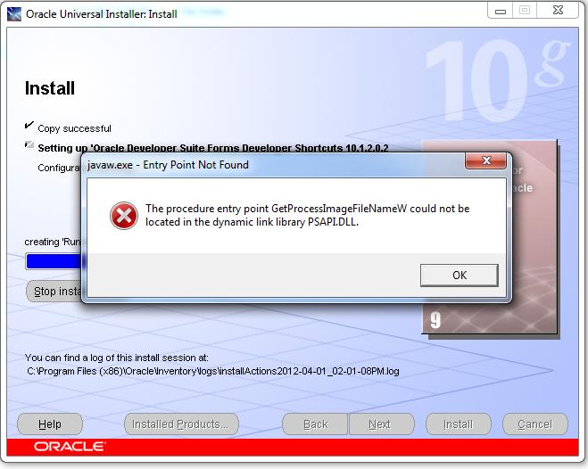 Install Oracle 10g onward database, developer on Windows 7 | Duh! Microsoft did it again