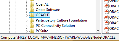 RegEdit Oracle Entry